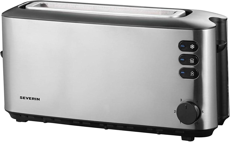 Severin AT 2515 Tostadora Automática, 1 Ranura Larga, hasta 2 Rebanadas de Pan, 1000 W, Acero Inoxidable/Negro