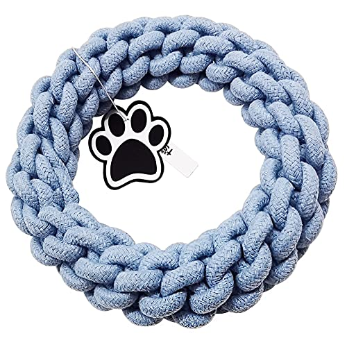 """Dog Rope Toys for for Medium and Small Dogs: 7.87"""" in diamete for Dog Tug of War & Teething & Cleaning,Indestructible Dog Chew Toys Tough , Made of Natural Cotton Thread (Blue)"""