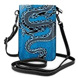 Women Small Cell Phone Purse Crossbody,Black Dragon On Blue Tribal Background Year Of The Dragon Themed Art