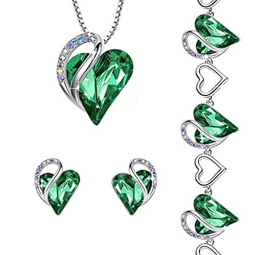 Leafael Infinity Love Crystal Heart Bundle Jewelry Set Emerald Green May Birthstone, Silver-tone