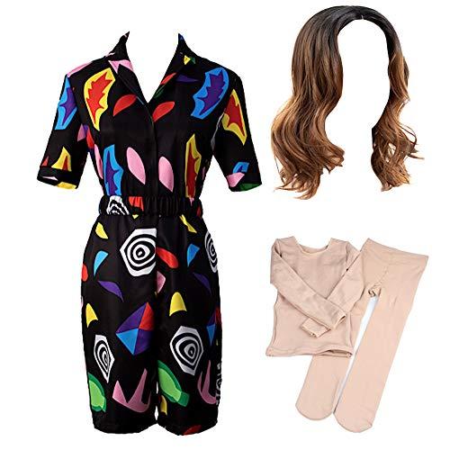 VersusModa UNDST05B - Conjunto de top y pantalones cortos de imitacin para mujer, disfraz de carnaval multicolor XS