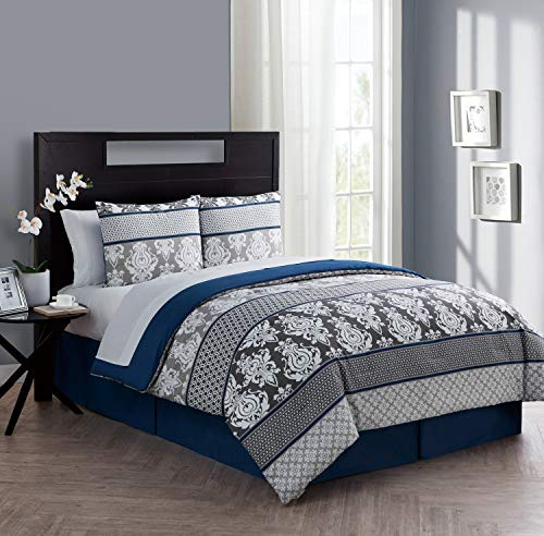 VCNY Home Beckham Collection Comforter Soft & Cozy Bedding Set, Stylish Chic Design for Home Décor, Machine Washable, Queen, Blue, 8 Piece