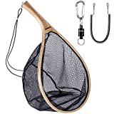 ODDSPRO Fishing Net, Fly Fishing Net with Magnetic Release, Fish Landing Net with Wooden Frame and Soft Rubber Mesh for Trout Fishing Catch and Release (Curved Handle)