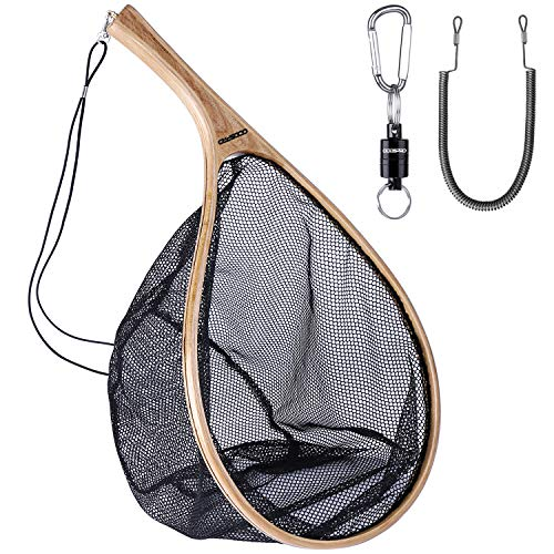 ODDSPRO Wooden Fly Fishing Net with Magnetic Release, Fish Landing Net with Soft Rubber Mesh for Trout Fishing Catch and Release