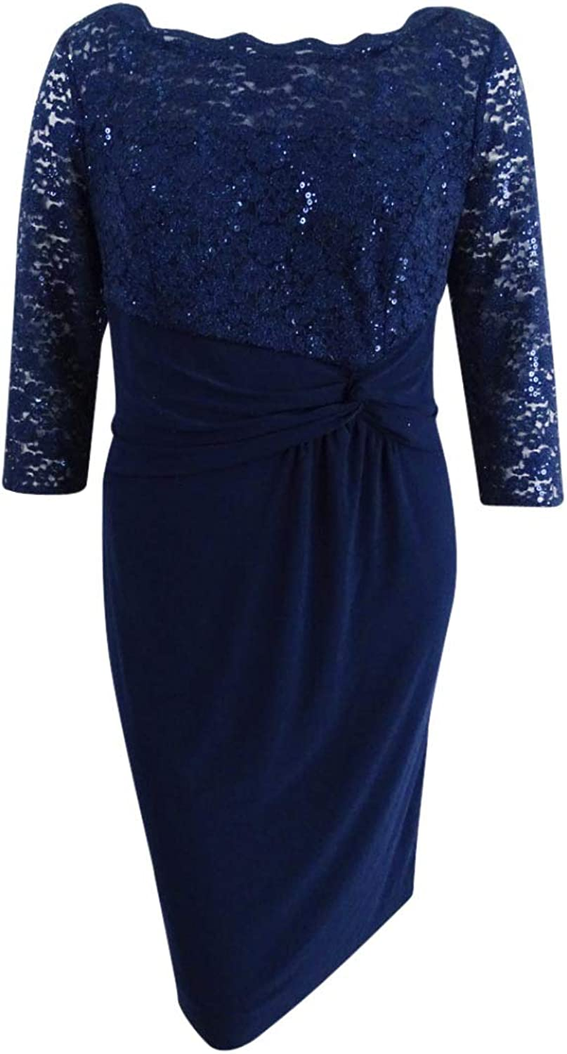 Alex Evenings Womens Plus Sequined Lace Special Occasion Dress