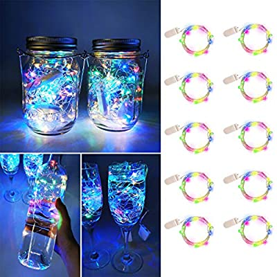 UNIQLED 10 Packs Starry String Lights Battery Operated Fairy Lights with 20 Micro LEDs Waterproof Copper Wire Firefly Night Lights for DIY, Wedding Decor, Party, Christmas, Holiday Decoration