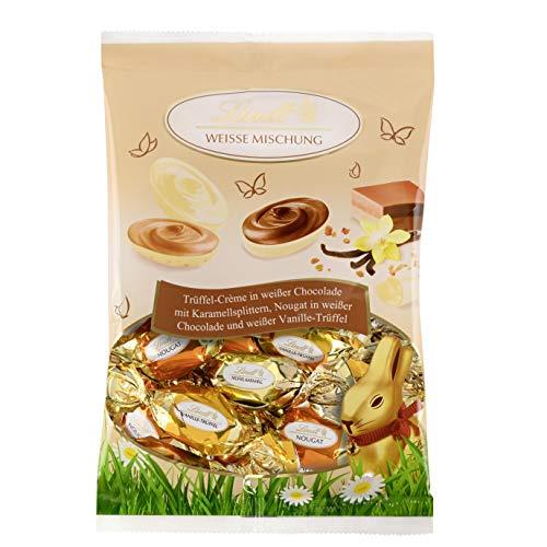 Lindt Weiße Eier, Mischung (Weißer Trüffel, Weißer Krokant und Weißer Nougat), Oster-Schokolade zum Verschenken oder selber genießen, 1er Pack (1 x 140 g)