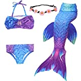 GALLDEALS Mermaid for Swimming Girls Swimsuit Princess Bikini Set Bathing Suit Swimmable Costume (No Monofin) (3-4 Years, A-Purple + Blue Tailwing3)