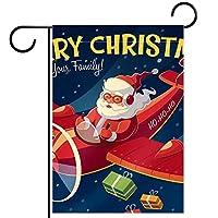 ホームガーデンフラッグ両面春夏庭屋外装飾 28x40INCH,飛行機とメリークリスマスサンタクロース