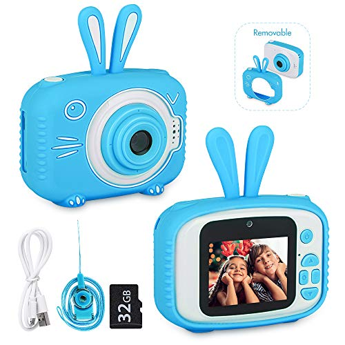 DDGG Kids Camera, Kids Selfie Camera, HD Digital Video Cameras for Toddler with 32GB SD Card, Best Birthday Gifts for Boys Girls Age 3-9 (Blue)