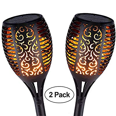 Outdoor Solar Lights,Waterproof Flickering Flames Torches Lights 96 LED Solar Spotlights Landscape Decoration Lighting Dusk to Dawn Auto On/Off Security Torch Light for Patio Driveway, 2P