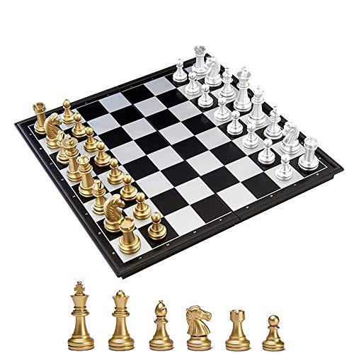KOKOSUN チェスセット 国際チェス マグネット式 折りたたみ盤 チェスボード 金と銀の駒 収納便利 大人 子供 入門用 (M)