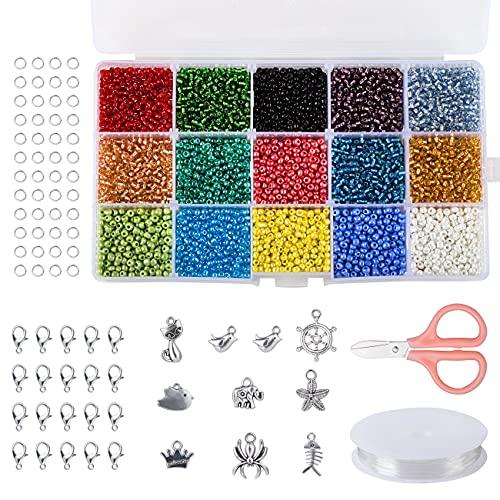 Naler 7500 Cuentas de 15 Colores 3mm Mini Cuentas y Abalorios Cristal...