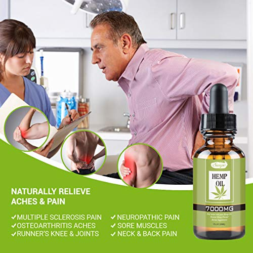 Natural Hemp Oil 7000MG - Organic Plant Extracts Essential Oil Flavour Herbal Supplement for Pain Relief, Stress, Anxiety, Sleep (7000MG)