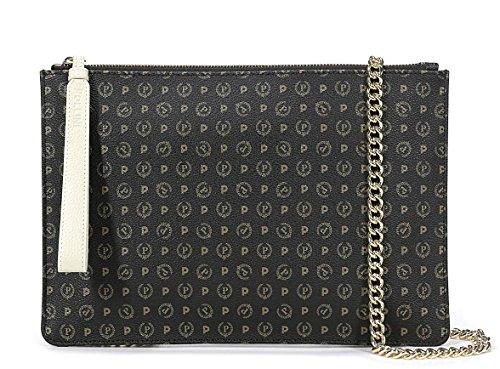 Pollini Damen-Handtasche aus PVC, Schwarz und Kalbsleder, Schwarz Einheitsgröße