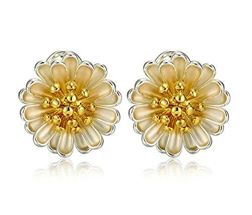 AieniD Frauen Ohrringe Vergoldet Ohrring für Damen Mini Chrysantheme Gelb