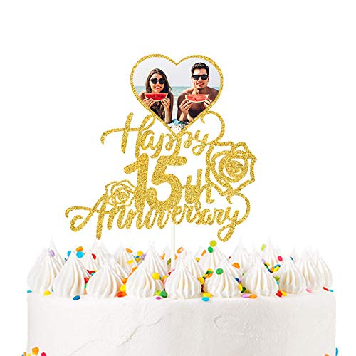 Happy 15th Anniversary Photo Cake Topper for Fifteen Years Wedding Anniversary, Birthday Party Decoration-Double sides Gold Glitter