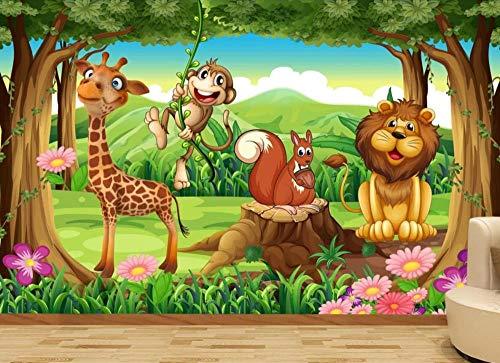 Papel Pintado Fotomurales 3D León Mono Animal Del Bosque Salón Dormitorio Despacho Pasillo Decoración Murales decoración de Paredes Moderna 150x105cm