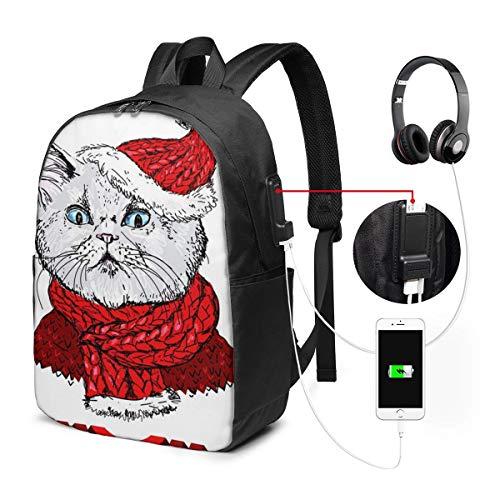 Laptop Rucksack Business Rucksack für 17 Zoll Laptop, Zeichnung Katze Weihnachtsmütze Schulrucksack Mit USB Port für Arbeit Wandern Reisen Camping, für Herren Damen