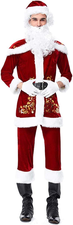 MERRYHE Erwachsene Herren 9 Stücke Weihnachtsmann Cosplay Kostüm Weihnachten Kostüm Bühnen Outfit Mit Perücke Bart Gürtel Handschuhe Schal Hut,RedXXL