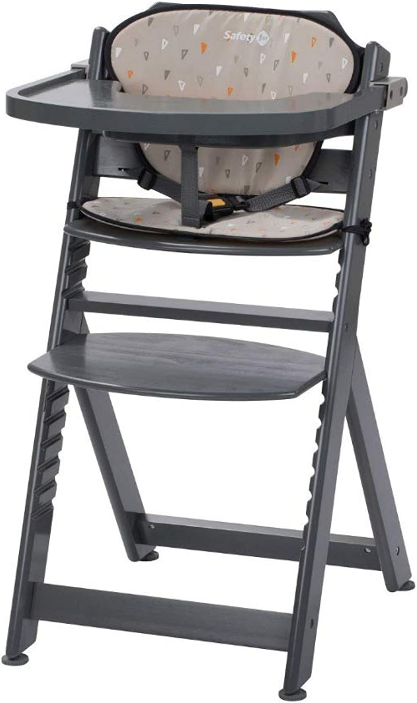 Safety 1st Timba Mitwachsender Hochstuhl und passendes Sitzkissen, inkl. abnehmbares Tischchen, hohe Rückenlehne, ab ca. 6 Monaten bis ca. 10 Jahre (max. 30 kg), Buchenholz, warm grau (grau)