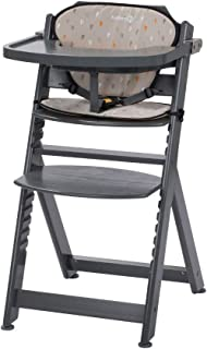 Safety 1st Timba con cojín, Trona de madera evolutiva, Trona para bebés con bandeja extraíble, Silla de altura regulable crece con el niño 6 meses - 10 años, color Warm Grey