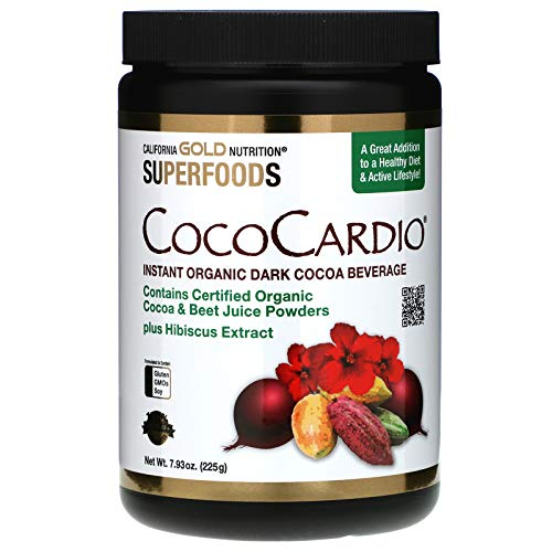 California Gold Nutrition CocoCardio, Certified Organic Instant Dark Cocoa Beverage with Beet Juice & Hibiscus, 7.93 oz. (225 g)