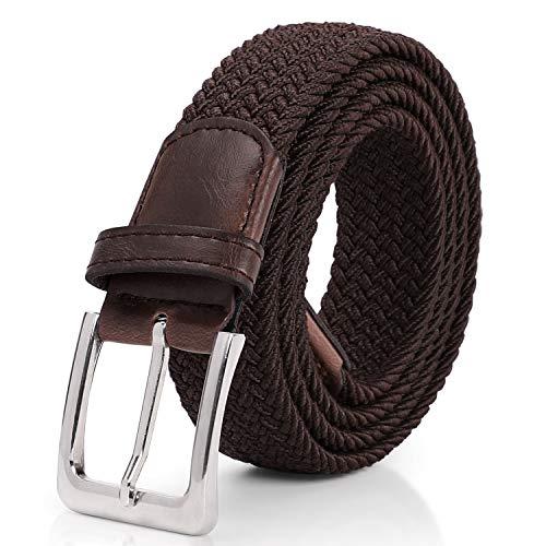 SUOSDEY Unisex Elastischer Stretchgürtel Geflochtener Taillen Gürtel, 02-Kaffeefarbe, Länge- 130cm Geeignet für 101-115cm