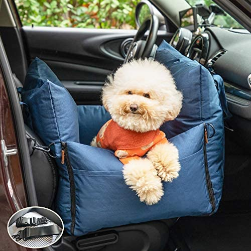 QUEENS NOSE Dog Car Seat for Small and Medium Dogs up to 30 lbs Travel Dog Bed with 2 Adjustable product image