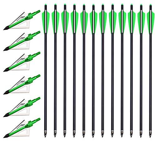 PMSM 12 Stück 20 Zoll Armbrustbolzen Carbon Armbrustpfeile und 6 Stück Armbrust Jagdspitzen kit,Armbrust Jagdpfeil mit 4