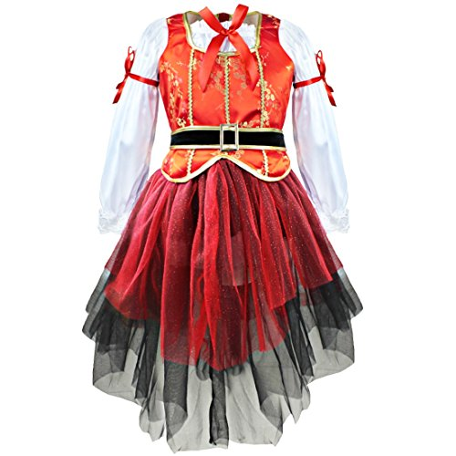 TiaoBug Enfant Fille Carnaval Déguisement Princesse Mer Pirate Cosplay Costume Halloween Tutu Robe Soirée Veste + Tulle Jupe + Bonnet + Ceinture Robe de Danse 2-10 Ans Orange&Blanc&Rouge&Noir 5-6 Ans