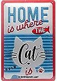 Nostalgic-Art Retro Blechschild Home Where The Cat is –