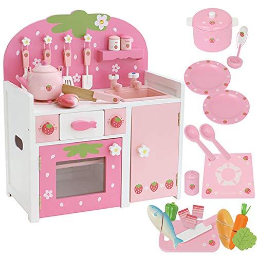 マザーガーデン 木のおままごと 木製 野いちご キッチン ピンク + おりょうり入門セット〔つぶつぶ桃いちご グリルキッチン 小物11点+食器+食材セット 完成品〕女の子 お料理ごっこ キッチンセット