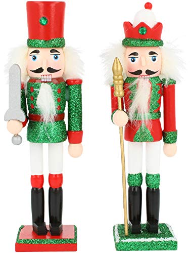 com-four® 2X Traditioneller Nussknacker in verschiedenen Designs, Festliche Weihnachtsdeko König mit Zepter, Soldat mit Schwert 18 cm [Auswahl variiert]