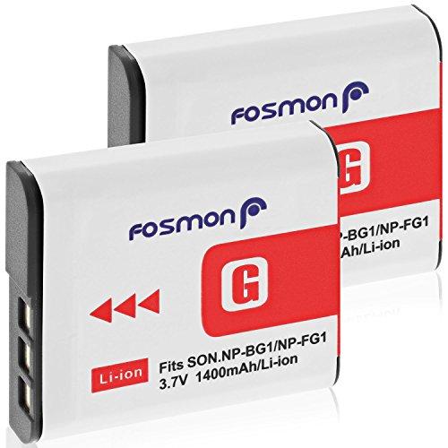 Fosmon 3.7V 1400mAh (Vollständig Dekodiert) Akku für NP-FG1 / NP-BG1 Kamera Ersatzakku (2er-Pack), Li-Ion Batterie Design für Sony Cyber-Shot Kamera W-Serie und mehr