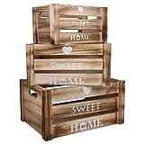 Cajon Madera Almacenaje - Set de 3 Cajas Blanqueadas con Recorte de Asa, Diseño...