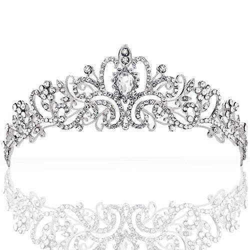 ZWOOS Tiara Stirnband Braut Brautjungfern Kristall Diadem Strass Krone