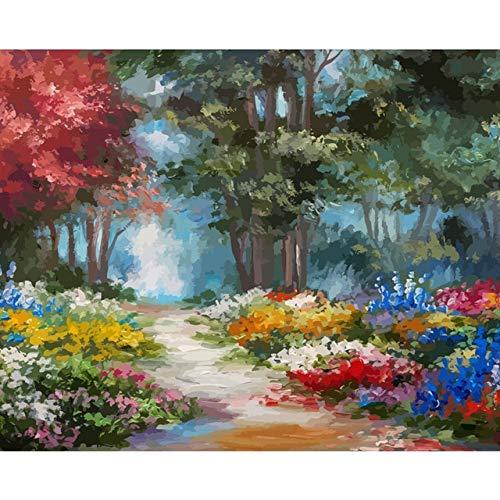 Conjunto de pintura de paisaje por números, pintura al óle
