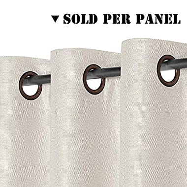 H.VERSAILTEX Classic Grommet Faux Linen Curtain Thermal Insulated Textured Linen Extra Long Panel Drapes, Decent Ivory Curtain 52 by 108 Inch - 1 Panel