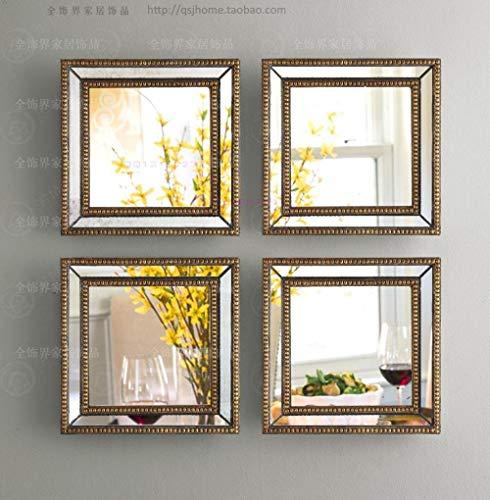 YBGW Espejos De Pared Decorativos Decoración De Pared con Espejo Calado Espejo De Pared Cuadrado Enmarcado Conjunto De Arte De Pared De Cuatro Espejos Decorativos De Pared Cuadrada