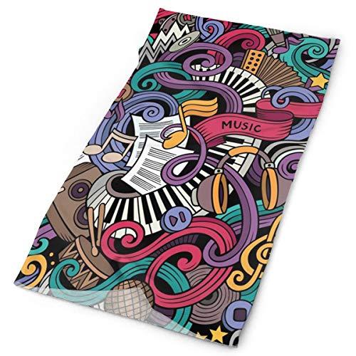 GUUi Hoofddeksels Hoofdband Hoofd Sjaal Wrap Sweatband, Muziek Thema Hand getrokken Abstract Instrumenten Microfoon Drums Keyboard Stradivarius, Sport Hoofddoeken Voor Mannen Vrouwen
