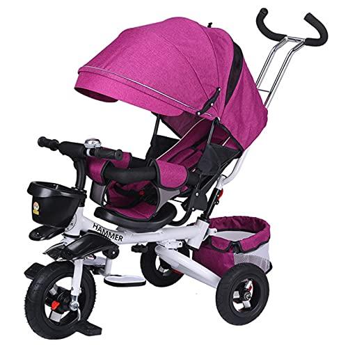 BSWL 4-En-1 Triciclo para Niños, Asiento De Dirección Bidireccional, Cochecito De Bicicleta para Niños Plegable Y Reclinado, Adecuado para Niños De 1 A 6 Años,Rose Red