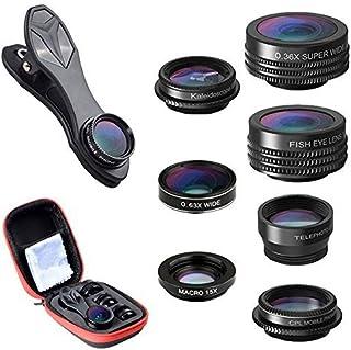Atfung Lentes para Móviles Kit 7 en 1 Lente Fisheye 198° Gran Angular Movil 0.36X y 0.63X 15X Lentes Macro 2X Zoom Telefono CPL con Clip-on Objetivo para iPhone Samsung Huawei