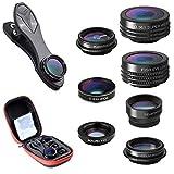 Atfung Lentes para Móviles Kit 7 en 1 Lente Fisheye 198°, Gran Angular Movil 0.36X y 0.63X, 15X Lentes Macro, 2X Zoom Telefono, CPL con Clip-on Objetivo para iPhone Samsung Huawei