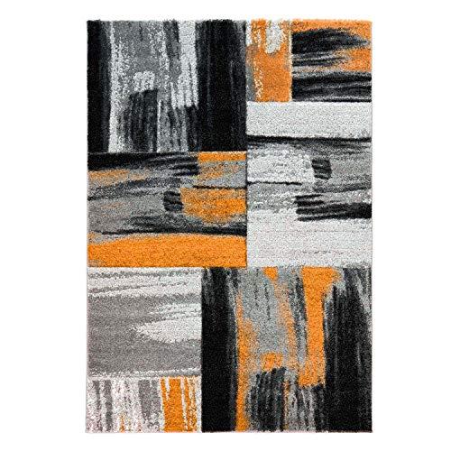 Alfombra diseño Moderno salón Swing Degradado Naranja Gris Negro, Orange Grau, 80 cm_x_150 cm