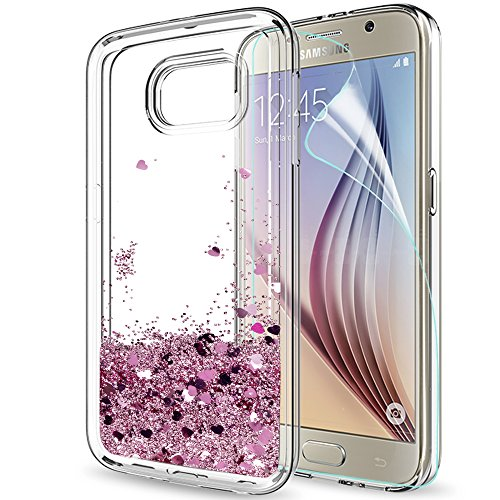 LeYi Compatible with Funda Samsung Galaxy S6 Silicona Purpurina Carcasa con HD Protectores de Pantalla,Transparente Cristal Bumper Telefono Gel TPU Fundas Case Cover para Movil Samsung S6 ZX Oro Rosa