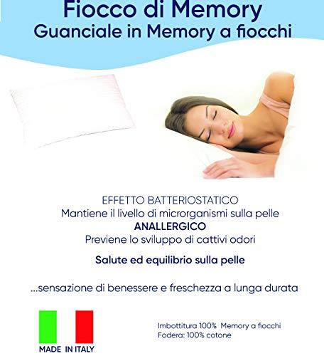 Pompea - Almohada viscoelástica con copos hipoalergénicos, 100% algodón bacteriostático, fabricada en Italia