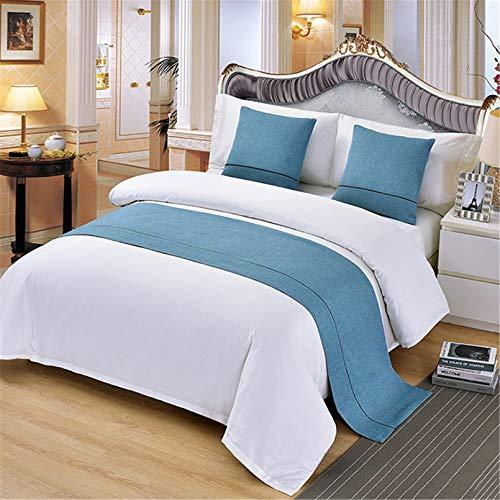 HXFYJ Fundas de Cama de Hotel con Costura de Color Puro, Colcha de Moda, Manta de Retazos, Corredores de Cama, decoración de la Cama del Dormitorio,Blue-50X260cm for 200cm Bed