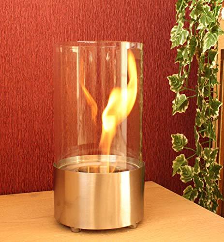 Moritz Bio Ethanol Tischkamin Tischfeuer aus Edelstahl Silber 15,5 x 15,5 x 28,5 cm 300 ml Edestahlbrenner Deko Kamin Flammenspiel für Indoor Outdoor
