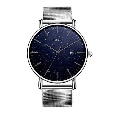 BUREI Herren Minimalistische Quarzuhr Mode Blue Face Black Hands Kalenderfenster mit silbernem Edelstahlband